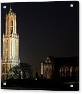 Dom Tower And Dom Church In Utrecht In The Evening 2 Acrylic Print