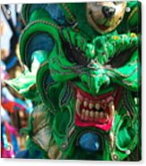 Dominican Republic Carnival Parade Green Devil Mask Acrylic Print