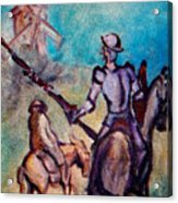 Don Quixote With Windmill Acrylic Print