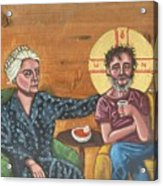 Don't Call Me a Saint- Dorothy day with Homeless Christ Acrylic Print