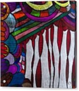 Doodle Page 6 - Bones And Curtains - Ink Abstract Acrylic Print