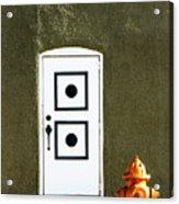 Door And Orange Hydrant  Acrylic Print
