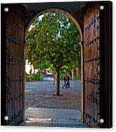 Doorway And Arch Between Gardens Acrylic Print