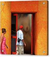 Doorway Undressing Acrylic Print by Harry Spitz