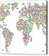 Dot Map Of The World - Colour On White Acrylic Print