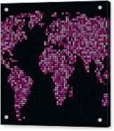 Dot Map Of The World - Pink Acrylic Print