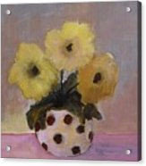 Dotted Vase With Yellow Flowers Acrylic Print