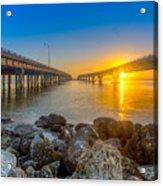 Double Bridge Sunrise - Tampa, Florida Acrylic Print