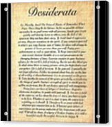 Double Matted Fossilized Desiderata Acrylic Print