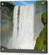 Double Rainbow By Skogafoss Waterfall Acrylic Print