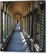 Down The Portico At The Franciscan Monastery In Washington Dc With Digital Effects Acrylic Print