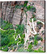 Downhill Switchbacks From Angels Landing Acrylic Print