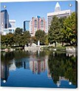 Downtown Charlotte North Carolina From Marshall Park Acrylic Print