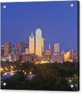 Downtown Dallas Skyline At Dusk Acrylic Print