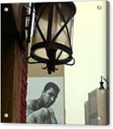 Downtown Detroit Light Fixture With Muhammad Ali Billboard Acrylic Print