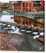 Downtown Greenville On The River Winter Acrylic Print