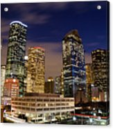 Downtown Houston At Night Acrylic Print