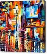 Downtown Lights - Palette Knife Oil Painting On Canvas By Leonid Afremov Acrylic Print