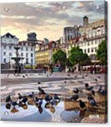 Downtown Lisbon Acrylic Print by Carlos Caetano