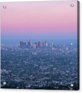 Downtown Los Angeles Skyline At Sunset Acrylic Print