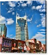 Downtown Nashville Blue Sky Acrylic Print