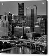 Downtown Pittsburgh At Twilight - Black And White Acrylic Print
