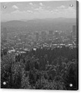Downtown Portland Black And White Acrylic Print