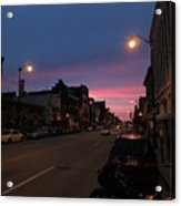 Downtown Racine At Dusk Acrylic Print by Mark Czerniec