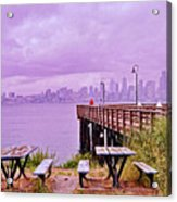 Downtown Seattle As Seen From Alki Beach Acrylic Print