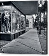 Downtown Sidewalk In Black And White Acrylic Print