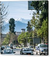Downtown Street In Santiago De Chile City And Andes Mountains Acrylic Print
