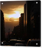 Downtown Sunset From Parking Lot Acrylic Print