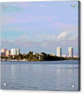 Downtown Tampa With Cruise Ship Acrylic Print