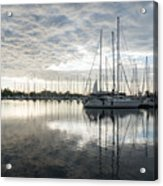 Downy Soft Clouds At The Marina Acrylic Print