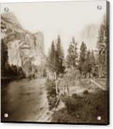 Domes And Royal Arches From Merced River Yosemite Valley Calif. Circa 1890 Acrylic Print