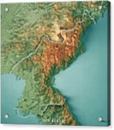 Dpr Korea 3d Render Topographic Map Border Acrylic Print