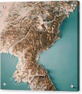 Dpr Korea 3d Render Topographic Map Neutral Border Acrylic Print