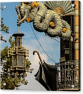 Dragon And Umbrella Sing In Barcelona Acrylic Print