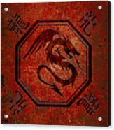 Dragon In An Octagon Frame With Chinese Dragon Characters Red Tint  Acrylic Print