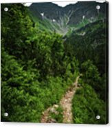 Dramatic Mountain Landscape With Distinctive Green Acrylic Print