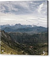 Dramatic Panoramic View Of Snow Capped Mountains Of Northern Cor Acrylic Print