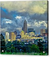 Dramatic Sky With Clouds Over Charlotte Skyline Acrylic Print