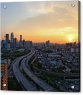 Dramatic Sunset Over Kuala Lumpur City Skyline Acrylic Print