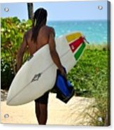Dreadlocks Surfer Dude Acrylic Print