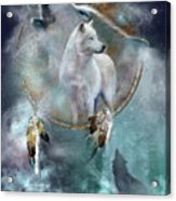 Dream Catcher - Spirit Of The White Wolf Acrylic Print