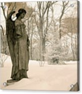 Dreamy Angel Monument Surreal Sepia Nature Acrylic Print