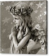 Dreamy Little Girl Angel With Praying Hands  Acrylic Print by Kathy Fornal
