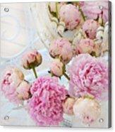 Dreamy Shabby Chic Romantic Peonies - Garden Peonies White Mason Jars Acrylic Print