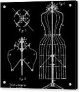 Dress Form Patent 1891 Black Acrylic Print