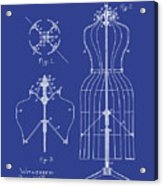Dress Form Patent 1891 Blue Acrylic Print